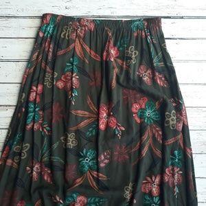 VINTAGE MY PIECES Green Botanical Maxi Skirt 1X